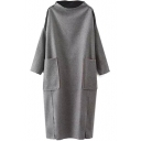 High Neck Long Sleeve Double Pockets Maxi Dress