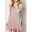 Scoop Neck 3/4 Length Sleeve Lace Detail Dress