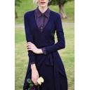 V-Neck Long Sleeve Belt Waist Plain Midi Dress