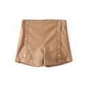 High Waist Button Fly Plain PU Hot Shorts