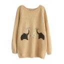 Round Neck Long Sleeve Elephant Embroidery Sweater