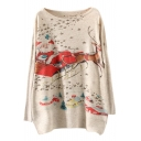 Long Sleeve Santa Claus Print Scoop Neck Christmas Sweater