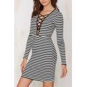 Cross Tie Front Stripes Bodycon Long Sleeve Dress
