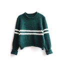 Strip Trims Long Sleeve Color Block Cropped Sweater