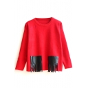 Color Block PU Patchwork Tassel Detail Sweater