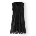 Sleeveless Knit Patchwork Lace Midi A-Line Dress
