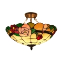 Country Style Tiffany Style Ceiling Light with Red Rose Pattern