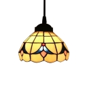 White Stained Glass 6 Inch Mini Hanging Pendant Lighting in Tiffany Style