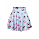 Blue High Waist Cute Alien Print Pleated Skirt