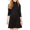 High Neck Long Sleeve Plain Black Dress