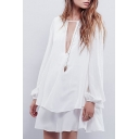 Round Neck Long Sleeve White Swing Dress