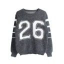 Round Neck Long Sleeve Letter Print Stripe Trims Sweater