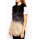 Single Breasted Sleeveless Ombre Fur Vest