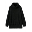 High Neck Long Sleeve Plain High Low Sweater