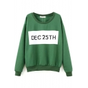 Round Neck Long Sleeve Letter Print Sweatshirt