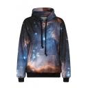 Black Galaxy Long Sleeve Hooded Sweatshirt
