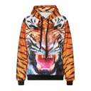 Tiger Print Long Sleeve Hooded Sweatshirt