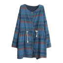 Tribal Print Long Sleeve Drawstring Waist Denim Coat