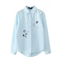 Blue Button Down Embroidery Long Sleeve Shirt