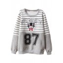 Round Neck Long Sleeve Stripes Letter Print Sweatshirt