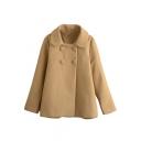 Plain Double Breasted Lapel Long Sleeve Tweed Coat