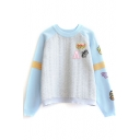 Cartoon Patchwork Color Block Raglan Sleeve Sweater