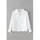 Lapel Drawstring Front Plain Long Sleeve Blouse