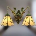 Mermaid Base 16 Inch Wide Green Leaf Motif Two-light Tiffany Sconce Bathroom Fixture
