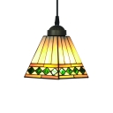 Black Finished Stained Glass 8 Inch Tiffany Single-light Mini Pendant Lighting