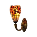 Shell Stained Glass 12 Inch High Tiffany One-light Upward Wall Sconce