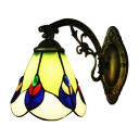 Pull Chain Peacock Tail Single Light Mini Bathroom Wall Lamp