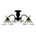 Shining Cone Shape Shade Semi Flush Mount Ceiling Light in Tiffany Style