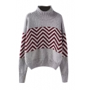 High Neck Long Sleeve Stripe Print Sweater