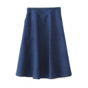 Zip Side Midi A-Line Denim Skirt