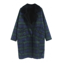 Notched Lapel Long Sleeve Single Breasted Plaid Coat