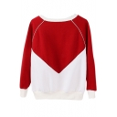 Round Neck Color Block Long Sleeve Sweatshirt