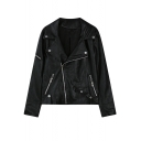 Notched Lapel Long Sleeve Black Zipper PU Jacket