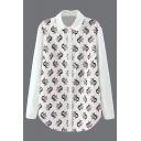 Lapel Long Sleeve Print Chiffon Shirt