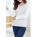 Round Neck Long Sleeve White Patchwork Sweater