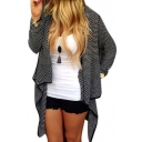 Open Front Long Sleeve Asymmetrical Hem Cardigan