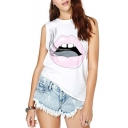 Mouth Cartoon Print Sleeveless Round Neck Tank
