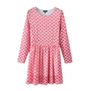 Heart Lace Long Sleeve Round Neck Fit Dress