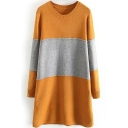 Loose Color Block Patchwork Long Sleeve Knit Dress