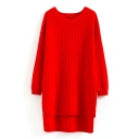 Round Neck Raglan Sleeve Split Side Dip Hem Long Sweater