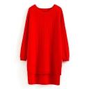 Round Neck Raglan Sleeve Split Side Dip Hem Long Sweater