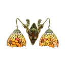 Two-light 18 Inch Sunflower Theme Mermaid Tiffany Wall Sconce