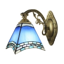 Euro Style Blue Stained Glass Tiffany Down-light Wall Sconce