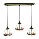 Downward Cone Shade Stained Glass Tiffany 3-light Dinning Room Pendant