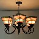 30'' Wide Six Lights Colorful Mission Style Tiffany Chandelier with Adjustable Chain