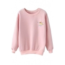 Cartoon Print Long Sleeve Round Neck Sweatshirt